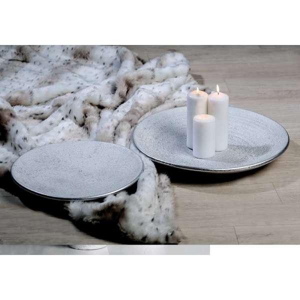 """Teller """"Polar"""" aus Keramik, silber mit weißem Finish, gefrostete Optik (Ab. rechts)"""
