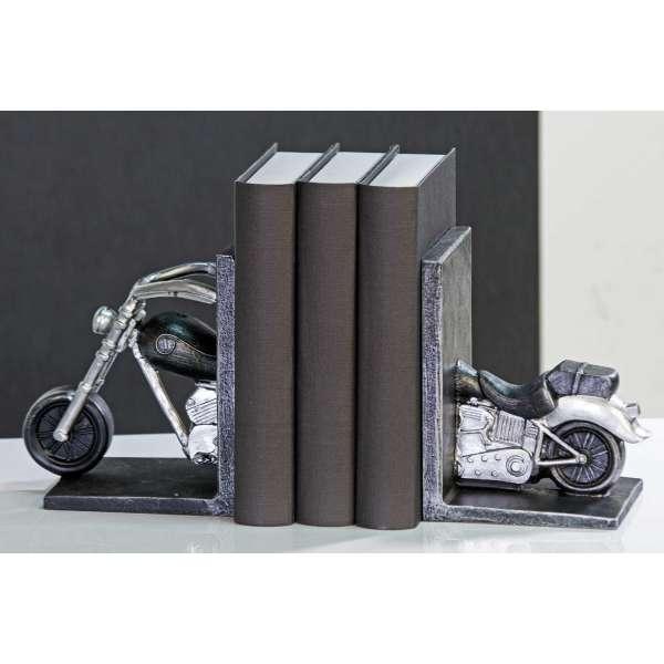 """Casablanca Buchstützen """"Motorrad""""Poly antik silber 2teiliges Set H:16cm B:10cm"""