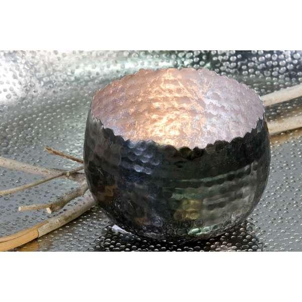 """Teelichthalter""""Trendy""""Metall silber H:6,5cm D:10cm Metall silber außen anthrazit"""
