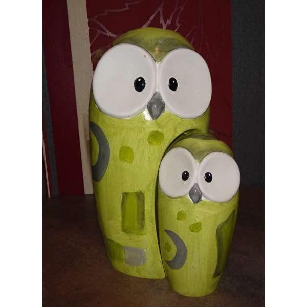 Gilde Keramik Eule Kira Mutter und Kind (grün) neu und original vom Fachhandel