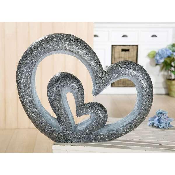 Magnesi Herz in Herz, granit finish aussen glänzend, innen matt