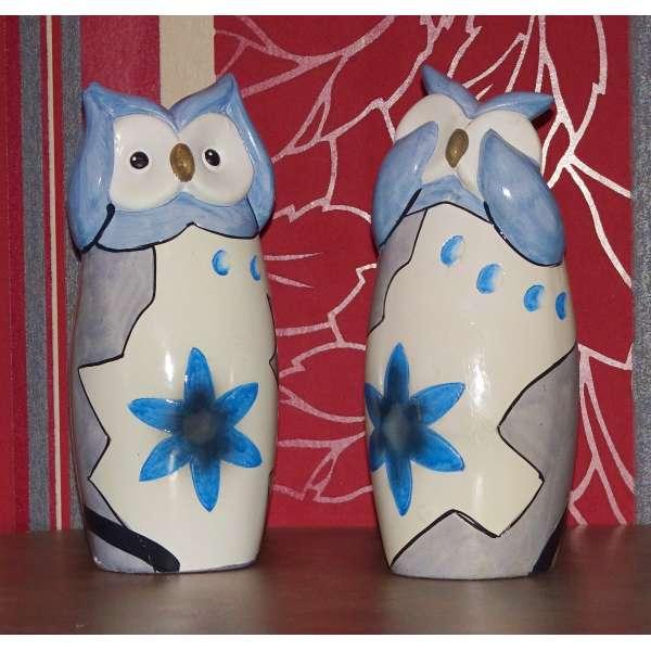 Gilde Keramik Eulen Kira Oma und Opa (blau) neu und original vom Fachhandel