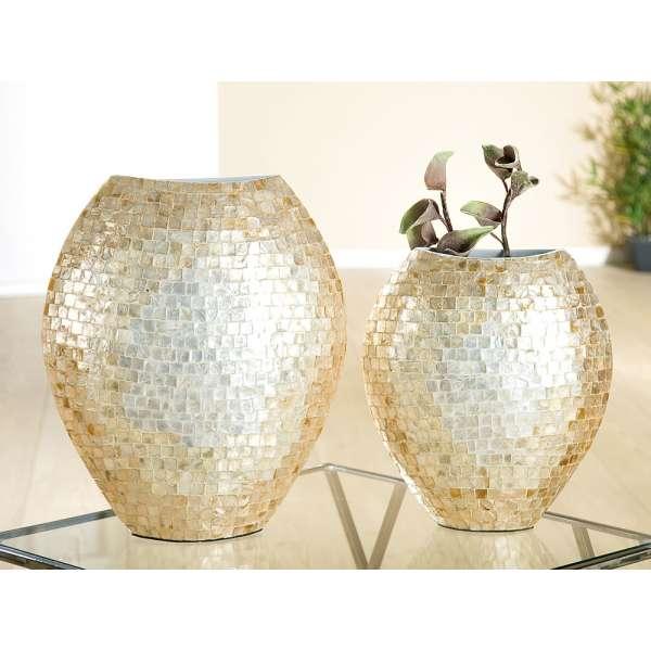 "Dekorationsvase ""Scintilla"" mit Capice natur, gold, Mosaik (Ab. rechts)"
