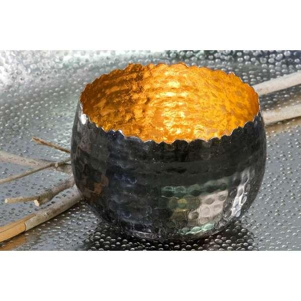 """Teelichhalter Leuchter """"Trendy""""Metall gold H:6,5cm D:10cm außen anthrazit vernickelt"""