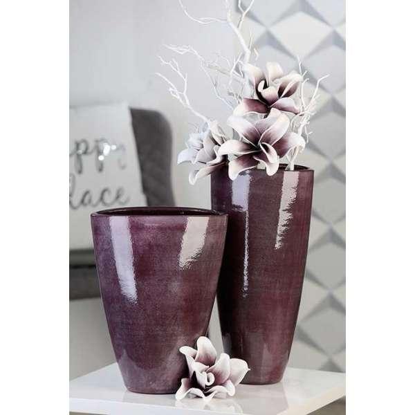 "Vase ""Avignon"" Keramik. (groß), Beere / grau. glasiert in Natursteinoptik"