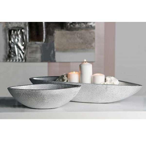 """Schale """"Polar"""" aus Keramik, silber mit weißem Finish, gefrostete Optik"""