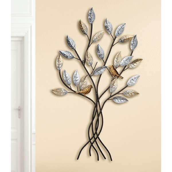 """Gilde Metall Wandrelief \""""Baum mit Vögeln\"""""""
