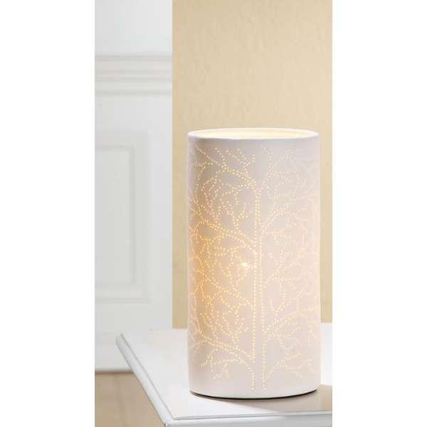 Gilde Zylinderlampe Baum im Prickellook 22 cm