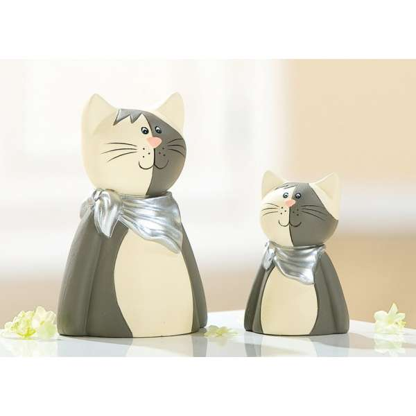 Keramik Katze Tarso Milosch grau silber creme groß