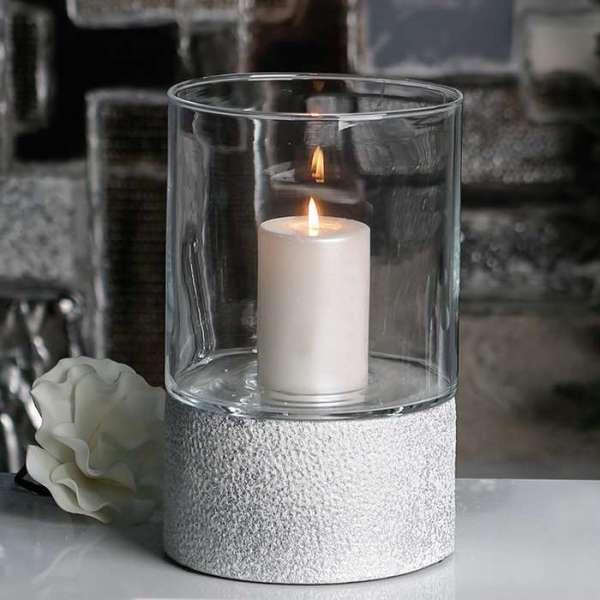 """Windlicht """"Polar"""" aus Keramik, silber mit weißem Finish, gefrostete Optik mit Glaseinsatz"""