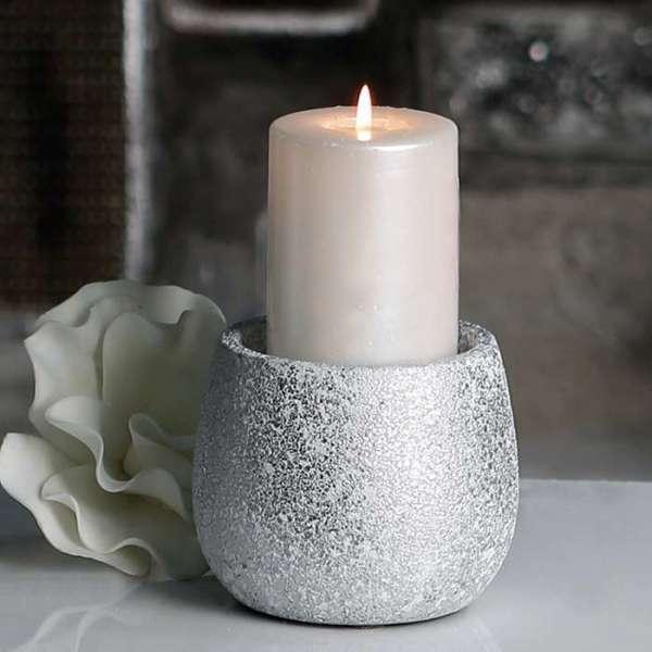 """Leuchter """"Polar"""" aus Keramik, silber mit weißem Finish, gefrostete Optik für Stumpenkerze"""