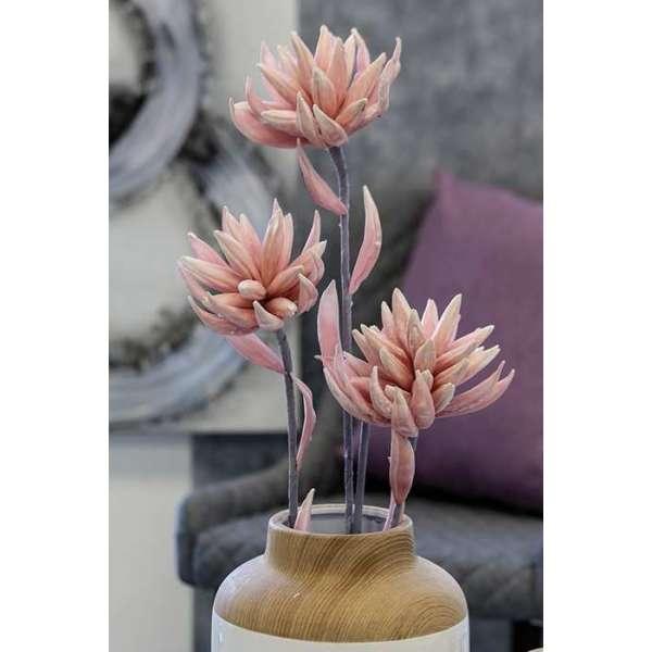 """Foam Flower """"Flora"""" rose/weiß mit 3 Blüten und 9 Blättern"""