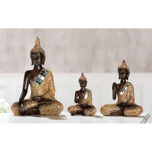 Poly Thai Buddha braun, gold mit Spiegelmosaik