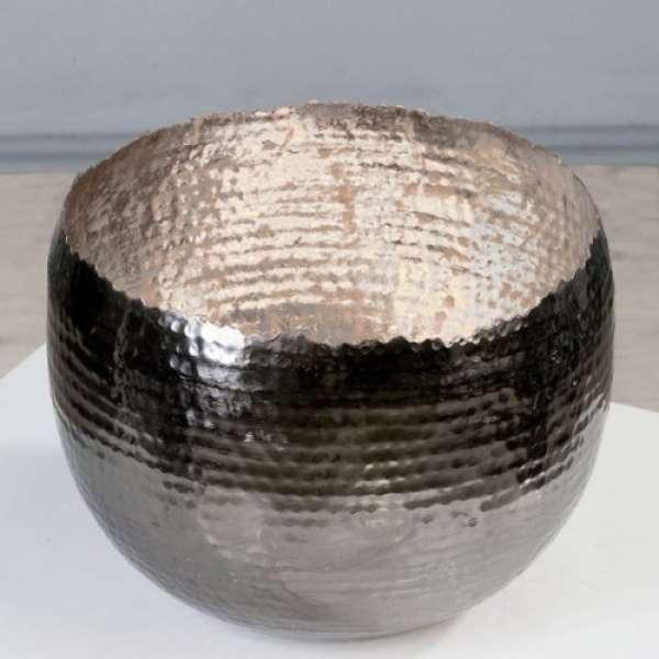 """Teelichthalter/Leuchter """"Trendy""""silber Metall H:19cm D:25 außen anthrazit vernikelt von Ca"""