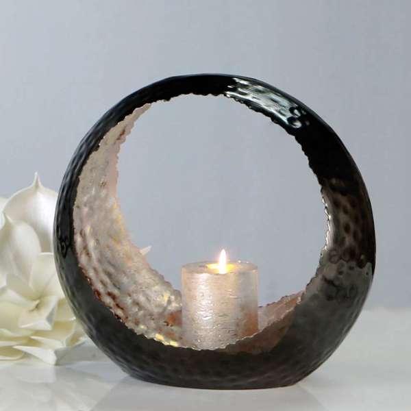 """Windlicht """"Round"""" aus Metall silber/anthrazit innen: silber, außen: anthrazit vernickelt"""