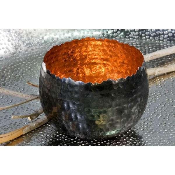 """Teelichhalter Leuchter """"Trendy""""Metall kupfer H:6,5cm D:10cm außen anthrazit vernickelt"""