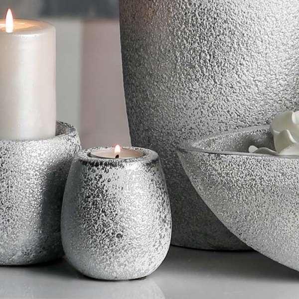 """Teelichtleuchter """"Polar"""" aus Keramik, silber mit weißem Finish, gefrostete Optik"""