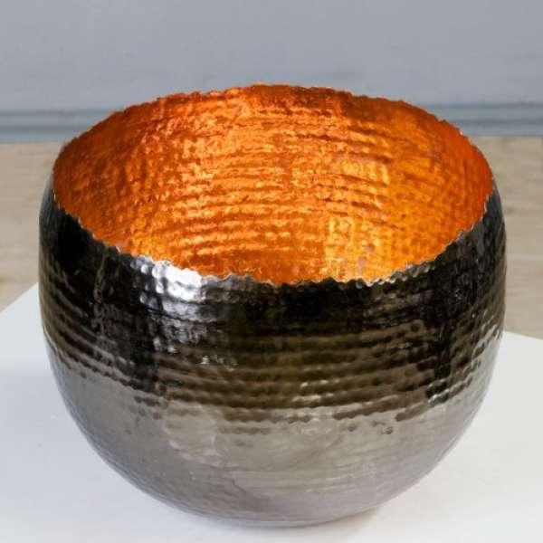 """Teelichthalter/Leuchter """"Trendy""""kupfer Metall H:19cm D:25 außen anthrazit vernikelt von Ca"""