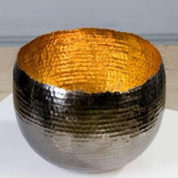 """Teelichthalter/Leuchter """"Trendy""""gold Metall H:19cm D:25 außen anthrazit vernikelt von Casa"""