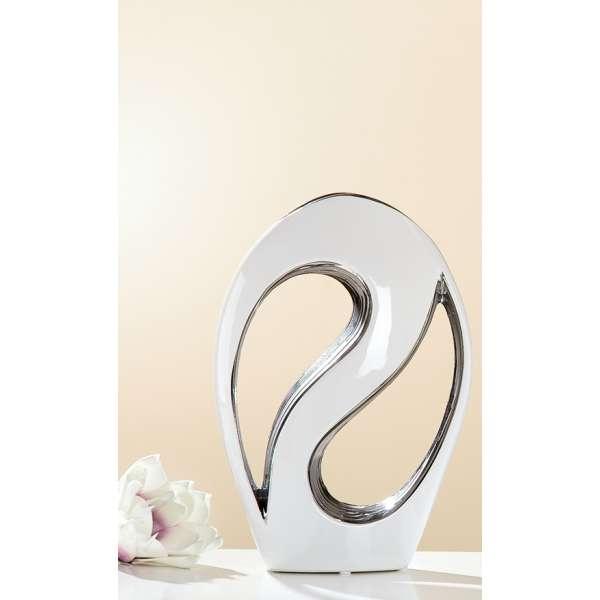 Gilde Keramik Lochvase Oval Foro 29 cm