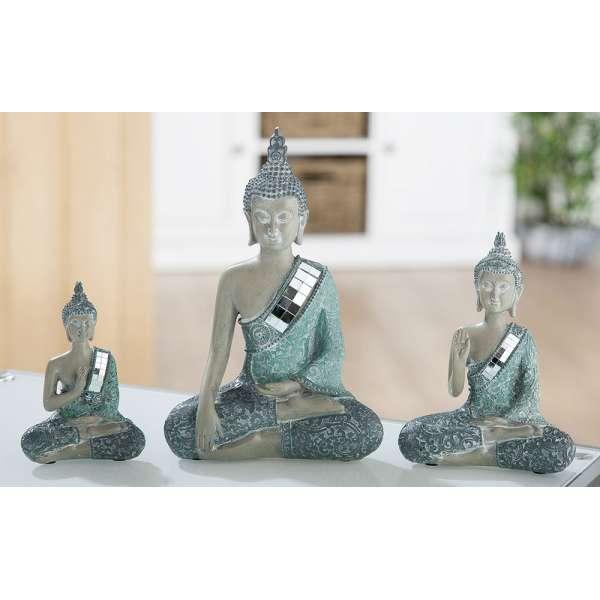 Poly Thai Buddha Laguna grau/türkis mit Spiegelmosaik (Ab. rechts)