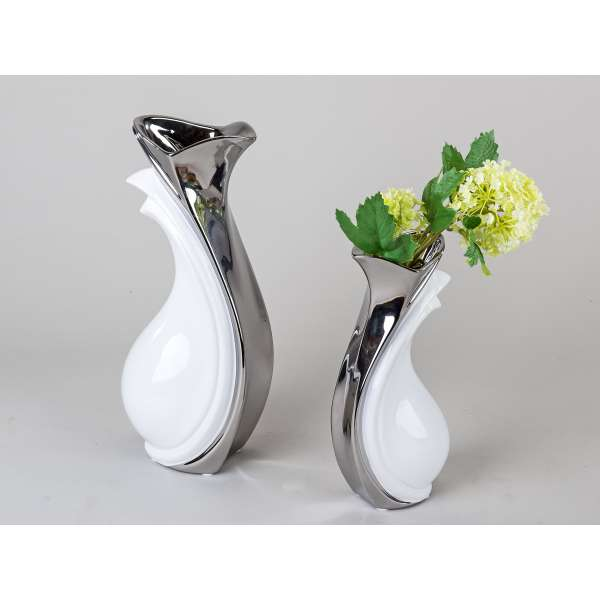 Formano Vase weiss-silber 31 cm