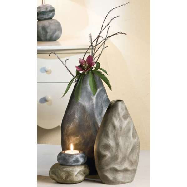 Gilde Keramik Deko Vase Masso grau / dunkelgrau