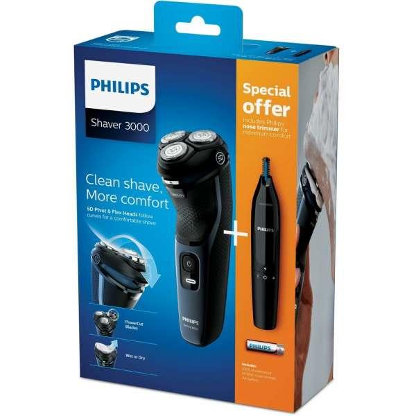 Philips Herrenrasierer Series 3000 inkl. Nasen- und Ohrhaartrimmer