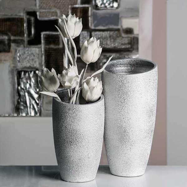 """Vase """"Polar"""" aus Keramik, silber mit weißem Finish, gefrostete Optik (Ab. links)"""