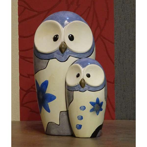 Gilde Keramik Eule Kira Mutter und Kind (blau) neu und original vom Fachhandel