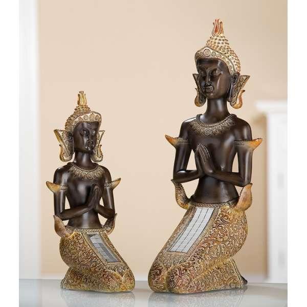 Poly Thai Buddha kniend braun, gold mit Spiegelmosaik