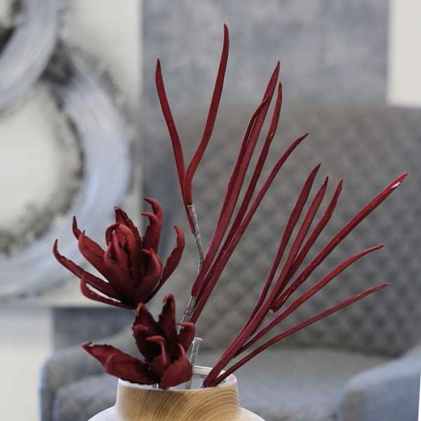 """Foam Flower """"Auxerre"""" burgunderrot mit 2 Blüten"""