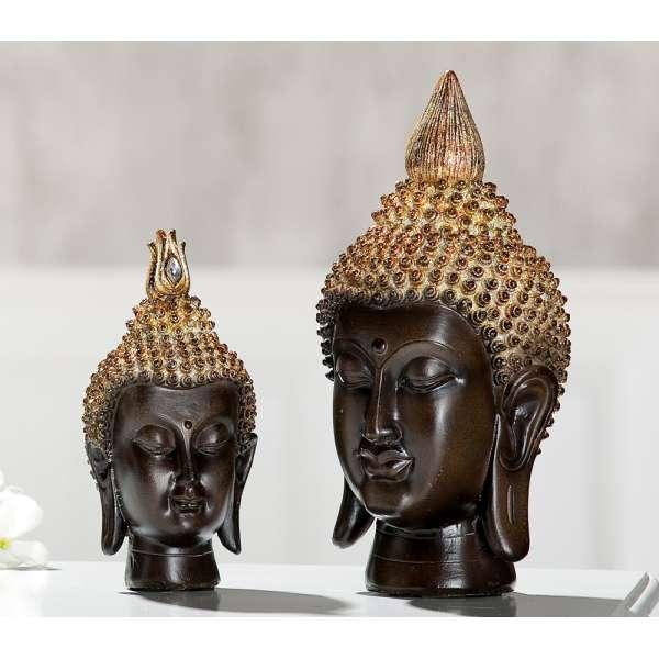 Poly Buddha Kopf braun, gold mit Spiegelmosaik