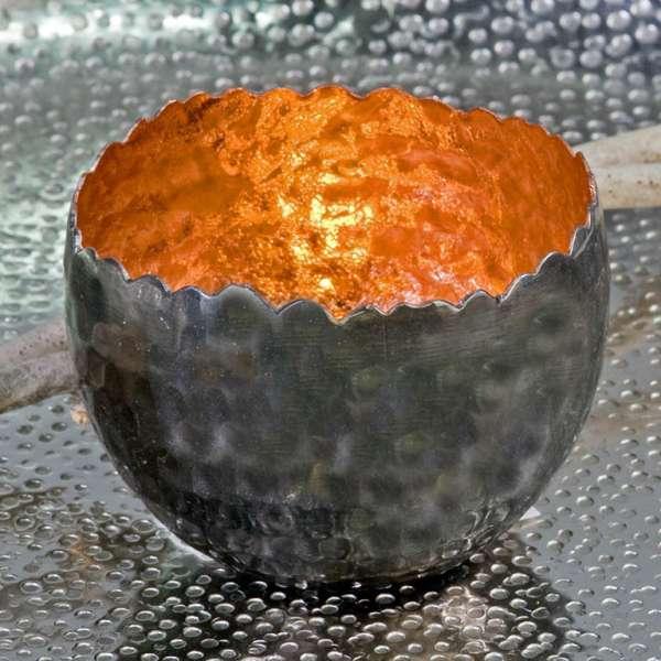 """Teelichhalter Leuchter """"Trendy""""Metall kupfer H:6cm D:8cm außen anthrazit vernickelt"""