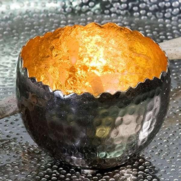 """Teelichhalter Leuchter """"Trendy""""Metall gold H:6cm D:8cm außen anthrazit vernickelt"""